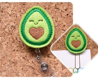 Felt Badge Reel, Avocado ID Badge Reel, Dietitian Badge Holder, Felt Lanyard, Planner Paper Clip, Magnet, Bookmark, Pin,  HEART 1236
