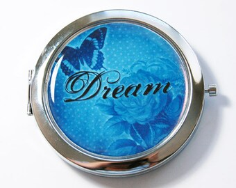 Compact mirror, Pocket mirror, mirror, Dream, Blue, Mirror for purse, blue mirror, blue compact mirror (2745)