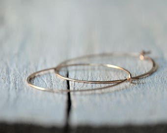 Rose Gold Filled Hoop Earrings, medium size, red gold, rose golden hoops.
