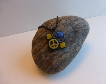 Mosaic Necklace with Yellow & Periwinkle Blue
