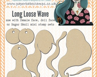 Portrait Media Blanks ~ Loose Long Wave Kit ~ Paperbabe Stamps ~ MDF Substrate for mixed media and craft.