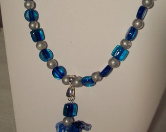 """Lampwork Horse Choker:  16""""  Blue glass beads with silver glass and blue glass lampwork horse"""