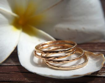 THICK hammered ring - Stackable ring / 14k Gold Filled / Dainty jewelry / Gift for her