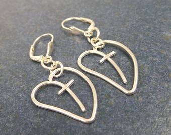 Cross Heart earrings, sterling silver dangles