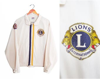 vintage jacket / Lions Club jacket / cafe jacket / 1970s Lions Club Montgomery zip up cafe jacket XL