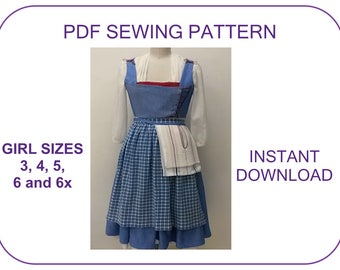 KID SIZES 3-6yr. Belle Blue Village Dress PDF sewing pattern. 2017 movie Emma Watson Belle peasant costume in Beauty and the Beast Halloween