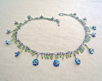 Crystal flower and grass choker Sparkly blue and green glass necklace Vintage blue flower beaded necklace on handmade sterling silver chain