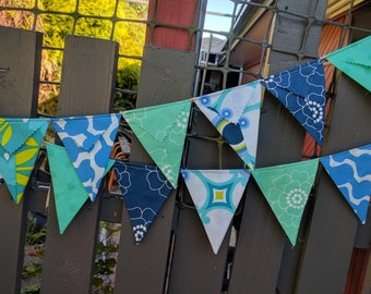 Fabric Bunting Flag Banner Pennants, Wedding Decoration, Baby Shower, Bright, Colorful Bunting, Palm Springs blues and green ready to ship