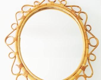 Espejo sol mimbre ovalado / oval wicker sunburst mirror