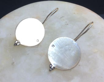 Sleek silver disc earrings - Yemeni inspired - handmade in Cairo