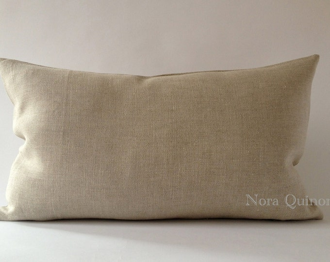 Oatmeal Linen Decorative Bolster Pillow Cover- Medium Weight European Linen- Invisible Zipper Closure