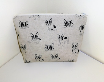 French Bulldog Makeup Bag, French Bull Dog Cosmetics Bag, Boston Terrier MakeUp Bag, Frenchie Cosmetics Bags, Frenchie Lovers, Gift for her