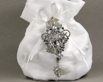 White Dance Bag, White Charmeuse Silk Purse with Stunning Swarovski Crystal Accent, wedding dress, money dance bag, wedding, money dance