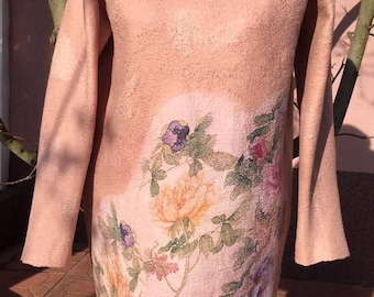 Felted dress Spring from merino wool,size L Dress,Handmade,Felt,Felting,Wool,Merino wool,Silk,Clothing,Clothing handmade