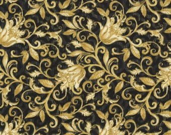 Floral Fabric, Vine Fabric:  Timeless Treasures Natalia Christmas Metallic Floral Scroll gold  100% Cotton Fabric by the yard  (TT23)