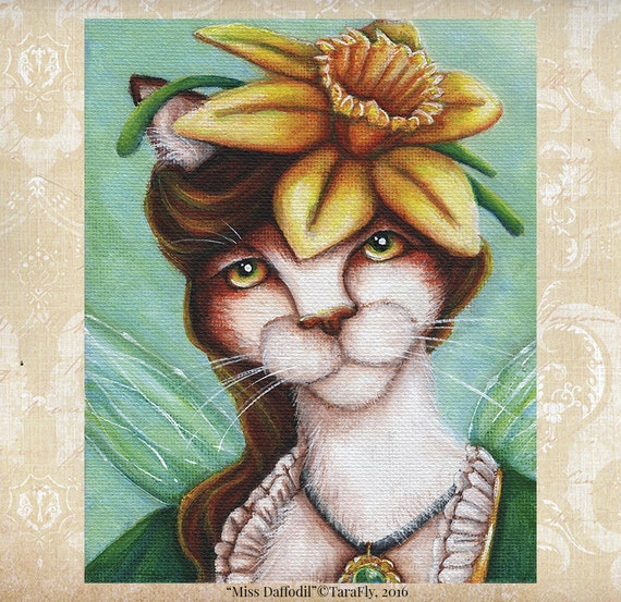 Daffodil Fairy Cat, Flower Fantasy Art, 8x10 Archival Print CLEARANCE