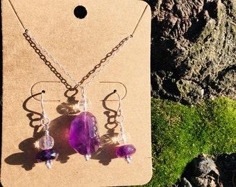 Amethyst + Clear Quartz (Necklace + Earrings)