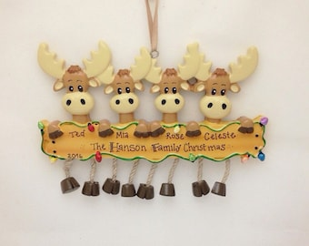 4 Moose Family Personalized Christmas Ornament / Moose family ornament / big family Christmas ornament