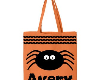 Personalized Halloween Trick or Treat Bag- Spider
