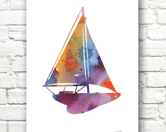 Toy Sailboat Art Print - Abstract Watercolor Painting - Nursery Wall Decor