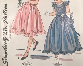Vintage 40s Simplicity 2685 Girls Special Occasion Dress Pattern Size 8