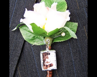 Lapel Pin Boutonniere Charm for the groom, Memorial Photo Stick Pin, Wedding Keepsake, Bridal Bouquet Pin