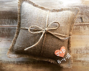 "8"" x 8"" Natural Burlap Ring Bearer Pillow w/ Jute Twine and Heart -Personalize w/ Initials & Wed Date- Rustic/Country/Shabby Chic/Wedding"