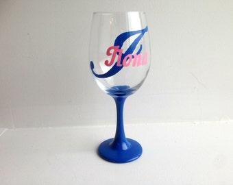 Mother's Day Gift, Gift for Mom, Custom Monogram Wine Glass, Painted Wine Glass, Gift for her, Gift for him, Initials, Wine Glass