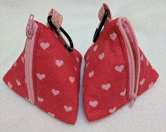Handmade Pink Glitter Heart Pouch Bag / Purse / Dog Poop Bag or treat carrier with metal Carabiner clip to attach to a book bag or Handbag