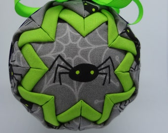 Quilted Fabric Ornament Halloween Spider