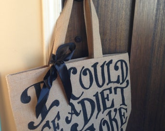 "Custom Quote Burlap Tote Bag 16"" - Beach Bag - Grocery Tote - School Bag - Baby Bag"
