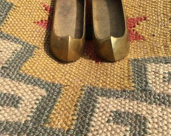 Pair of vintage brass shoe ashtrays/incense burner