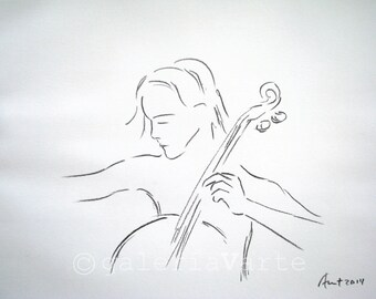 Original charcoal drawing - music - cello - europeanstreetteam