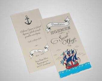 Vintage Sailing ship/Circumcision card