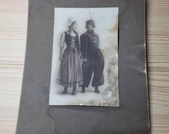 Vintage 1910's Sepia Photograph of Dutch Lesbians
