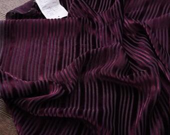 "Silk burnout, silk velvet, dark red, stripped , 43""/110cm  Fancy Fabric  for dresses, shirts, shawls, cheongsam, kimonos, by the yard"