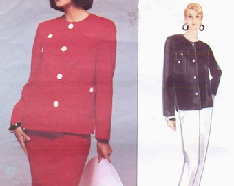 90s Bill Blass Womens Shaped Hemline Jacket and Skirt or Pants Vogue Sewing Pattern 1308 Size 12 14 16 Bust 34 36 38 FF American Designer