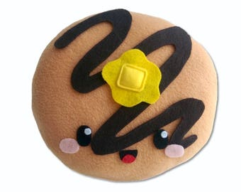 Pancake plushie, pillow, cushion, stuffed toy, stuffed pancake, breakfast, kawaii, plush toy, food toy, syrup, butter,