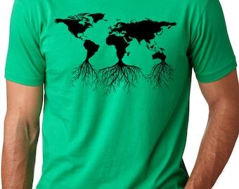 Earth roots cool environmental T-shirt screenprinted