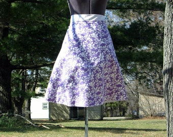 Wrap Skirt Reversible Purple Leaves with White