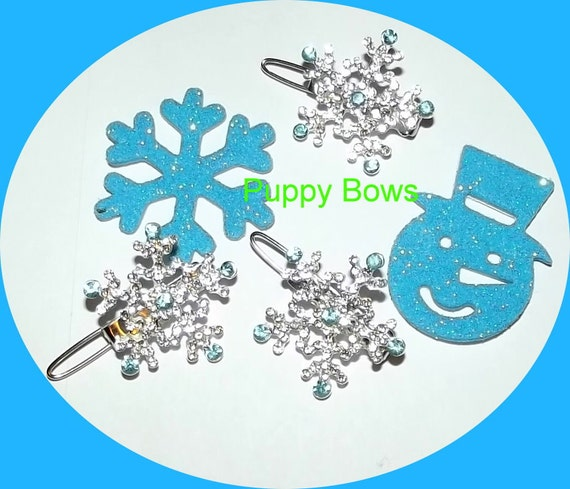 Puppy Bows ~Rhinestone barrette 4 leaf CLOVER or frozen SNOWFLAKE dog bow clip ~ USA seller