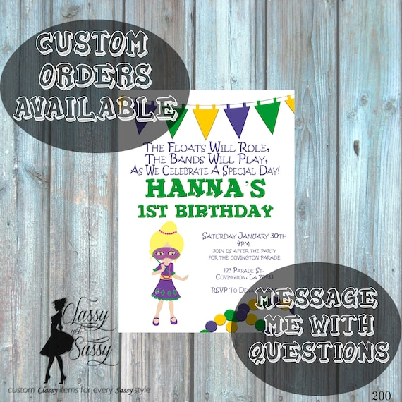 Mardi Gras Birthday Party Invitation, Mardi Gras Party, Parade party,  New Orleans Baby, New  Orleans Birthday Invitation-200