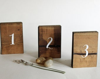 12 Table Numbers, Set of 12 Rustic Table Numbers, Rustic Wedding Decor, Rustic Table Decor, Reclaimed Wood Table Numbers