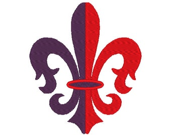 Fleur de lis 2 colors fill stitch silhouette designs, many mini sizes (.pes .hus .dst .vp3 .vip .xxx .exp .jef) embroidery design