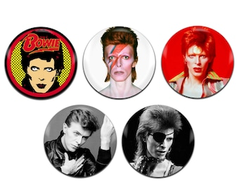 5x David Bowie Rock Glam 70's 25mm / 1 Inch D Pin Button Badges