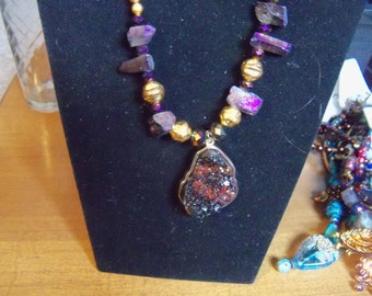 artistic assemblage necklace unique gift for her purple geo pendant amethyst eclectic set with earrings jewelry OOAK