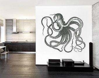 Octopus Wall Decal Kraken Decal Sea Animals Octopus Vinyl Wall Decals Nautical Wall Decals Bedroom Bathroom Decor kik1204