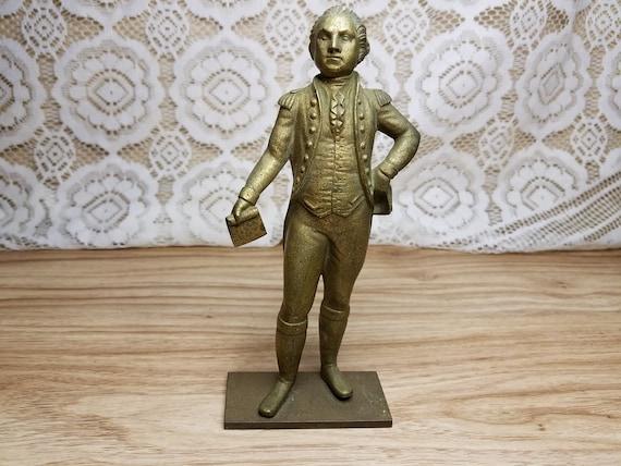 Antique Solid Brass General George Washington In Uniform Statue Uncommon