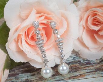 Pearl Dangle Earrings | Long Earrings | Pearl Drop Earrings | Bridal Earrings | Bridesmaid Earrings | Bridal Jewelry | Wedding Jewelry