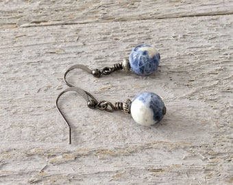 "Sodalite Earrings / One-of-a-Kind / Blue and Ivory / Stones / Drop / Shiny Gunmetal / Dangle - 1 1/4"" long"
